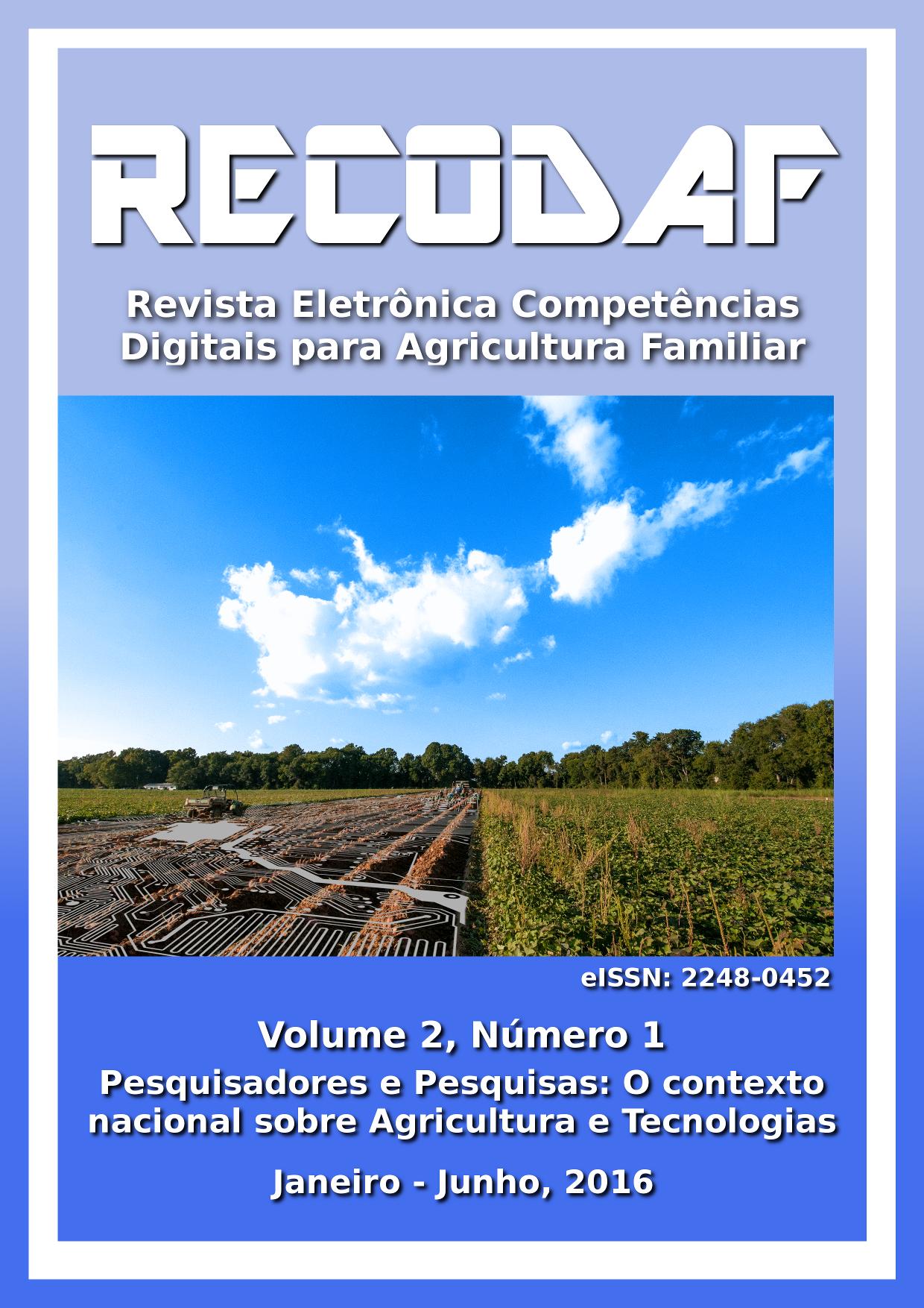Capa de RECoDAF - Volume 2, Número 1, do ano de 2016.